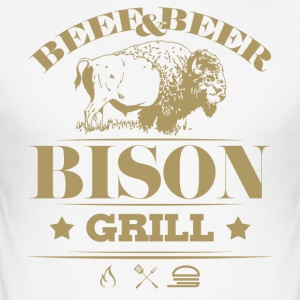 Grill Barbecue Bison 5g - Men's Slim Fit T-Shirt