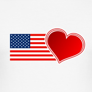 USA Flag med Heart - Herre Slim Fit T-Shirt