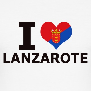 I LOVE LANZAROTE FLAG - Slim Fit T-skjorte for menn
