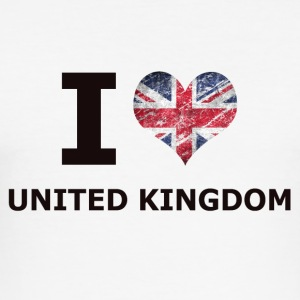 I LOVE UNITED KINGDOM FLAG - Men's Slim Fit T-Shirt