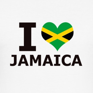 I LOVE JAMAICA FLAG - Men's Slim Fit T-Shirt