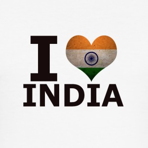 I LOVE INDIA FLAG - Men's Slim Fit T-Shirt
