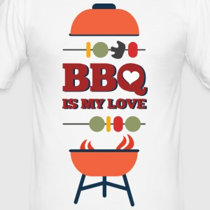 BBQ IS MY LOVE - Männer Slim Fit T-Shirt