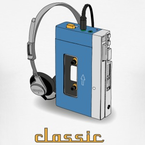 CLASSIC-WALKMAN retro design, blå - Slim Fit T-skjorte for menn