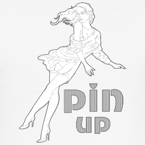 sexy pin up jente med langt hår - Slim Fit T-skjorte for menn