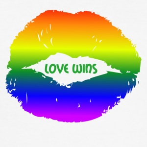 LOVE WINS lepper - Slim Fit T-skjorte for menn