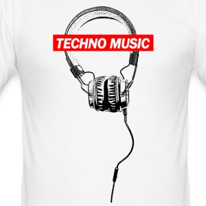 TECHNO Tee - Musikk Hodetelefoner 2017 - Slim Fit T-skjorte for menn