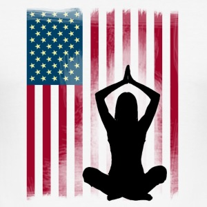 yoga-america Buddha lotus position flag US woman - Men's Slim Fit T-Shirt