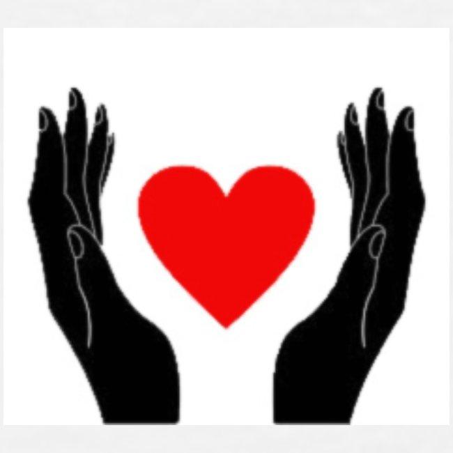 Schwarze Hände die rotes Herz halten