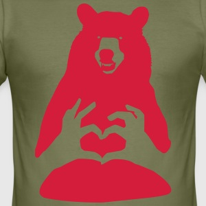 Valentine Bear Couple with Heart Man Woman Love - Men's Slim Fit T-Shirt
