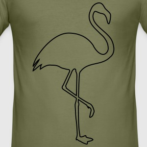 Flamingo kontur silhuett - Slim Fit T-shirt herr