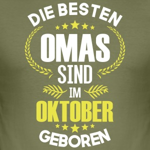 Beste oma geboren in oktober - slim fit T-shirt