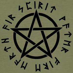 Pentagram, pentacle, magic, symbol, runes - Men's Slim Fit T-Shirt