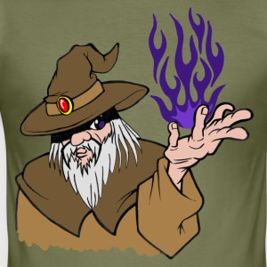 Willpower Wizard Brown/Dark Purple Flame - No Text - slim fit T-shirt