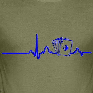 EKG HEART LINE pokerspiller blå - Herre Slim Fit T-Shirt