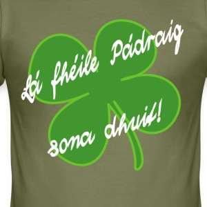 StPatShamrockWhite - Men's Slim Fit T-Shirt