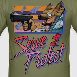 Gun Dog - Serve and protect - inscription - Men's Slim Fit T-Shirt