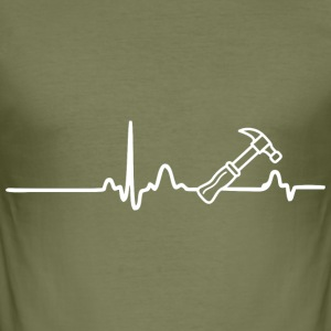 ECG HEART LINE ARTISANS white - Men's Slim Fit T-Shirt