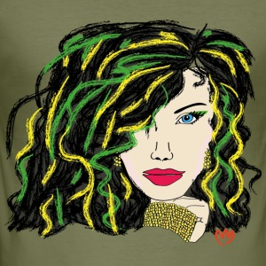 woman - green hair - Men's Slim Fit T-Shirt