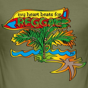my heart beats for reggae - Männer Slim Fit T-Shirt