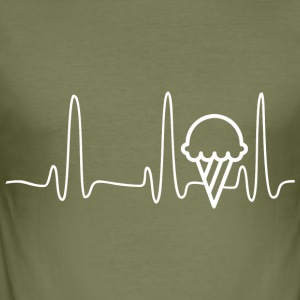 ECG HEART LINE ICE white - Men's Slim Fit T-Shirt