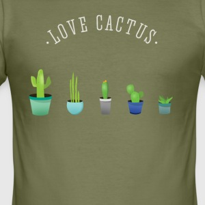 Cactus plant lover green prickly beard Love - Men's Slim Fit T-Shirt