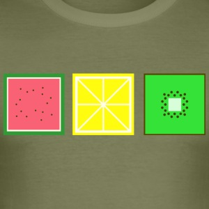DIGITAL FRUITS - Pixel Melone - Zitrone - Kiwi - Männer Slim Fit T-Shirt