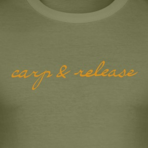 carp and release writing - Men's Slim Fit T-Shirt