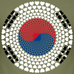 Sør-Korea Sør-Korea 대한민국, 大韓民國 HEART Mandala - Slim Fit T-skjorte for menn