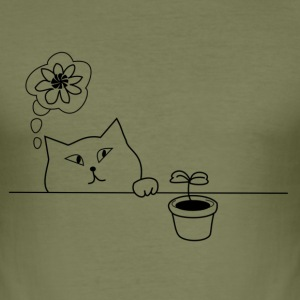 Cat & plant - Men's Slim Fit T-Shirt