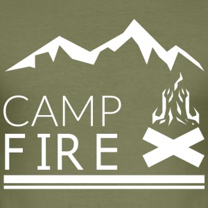 CAMP FIRE white - Men's Slim Fit T-Shirt