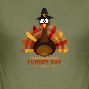 Thanksgiving Glad Tyrkia Day kalkun brun orang - Slim Fit T-skjorte for menn