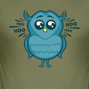 Owl Hoo Gullig fågel - Slim Fit T-shirt herr