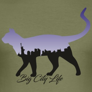 Cat i New York Design - Slim Fit T-skjorte for menn