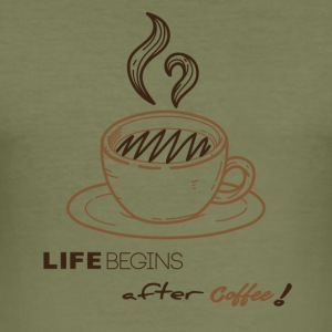 Life begins after-coffee - Men's Slim Fit T-Shirt