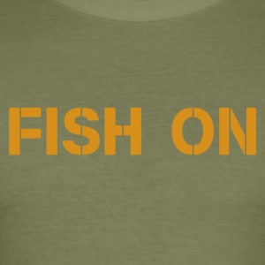 fish on scripture orange - Men's Slim Fit T-Shirt