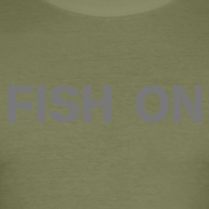 fish on scripture gray - Men's Slim Fit T-Shirt