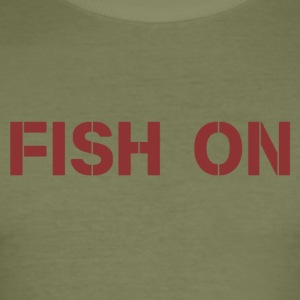 fish on writing dark red - Men's Slim Fit T-Shirt