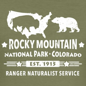 Bison Grizzly Rocky Mountain National Park Mountains - Men's Slim Fit T-Shirt