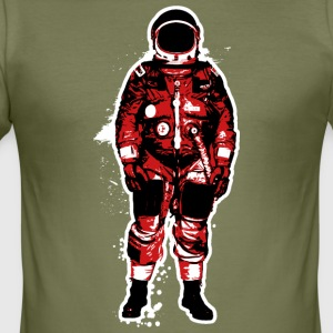 Astronaut Red Grunge - Slim Fit T-shirt herr