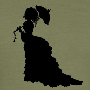 Black Baroque Lady silhouette with umbrella - Men's Slim Fit T-Shirt