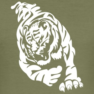 wild tiger attacking - Men's Slim Fit T-Shirt