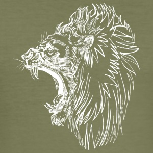 screaming angry lion white - Men's Slim Fit T-Shirt