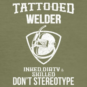 TATTOOED WELDER - Men's Slim Fit T-Shirt