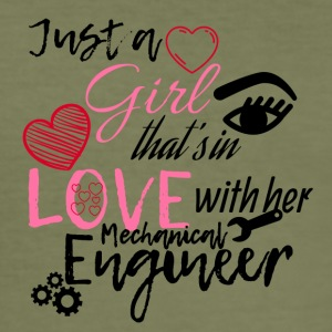 A girl is in love with her mechanical engineer - Men's Slim Fit T-Shirt