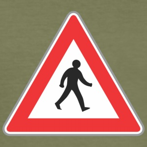 Road sign walking man red - Men's Slim Fit T-Shirt