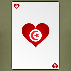 Playing Card Tunisia Heart Ass Heart - Men's Slim Fit T-Shirt