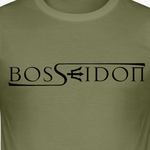 Bosseidon Logo Schwarz - Männer Slim Fit T-Shirt