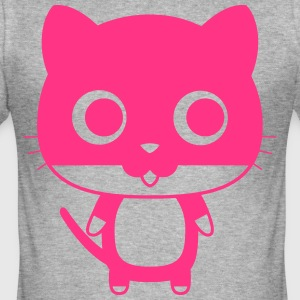 Cat with saucer eyes - Men's Slim Fit T-Shirt