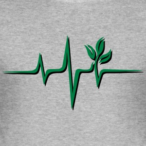 Vegan pulse, plant, frequency, heartbeat, beat, V - Men's Slim Fit T-Shirt